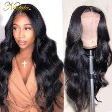 Nadula парик фронта шнурка 13 * 4/6 бразильский парик объемной волны средний коричневый парик