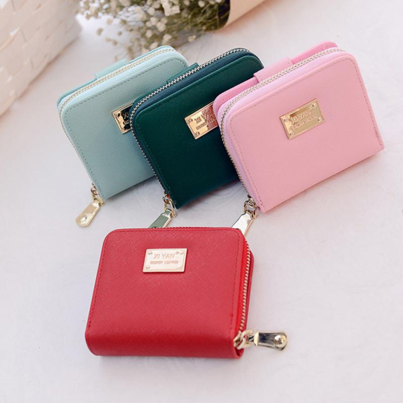 Fashion 5 Colors PU Leather Wallet Female Brand New Short Wallet Women Coin Purses Holder Small Zipper Wallets