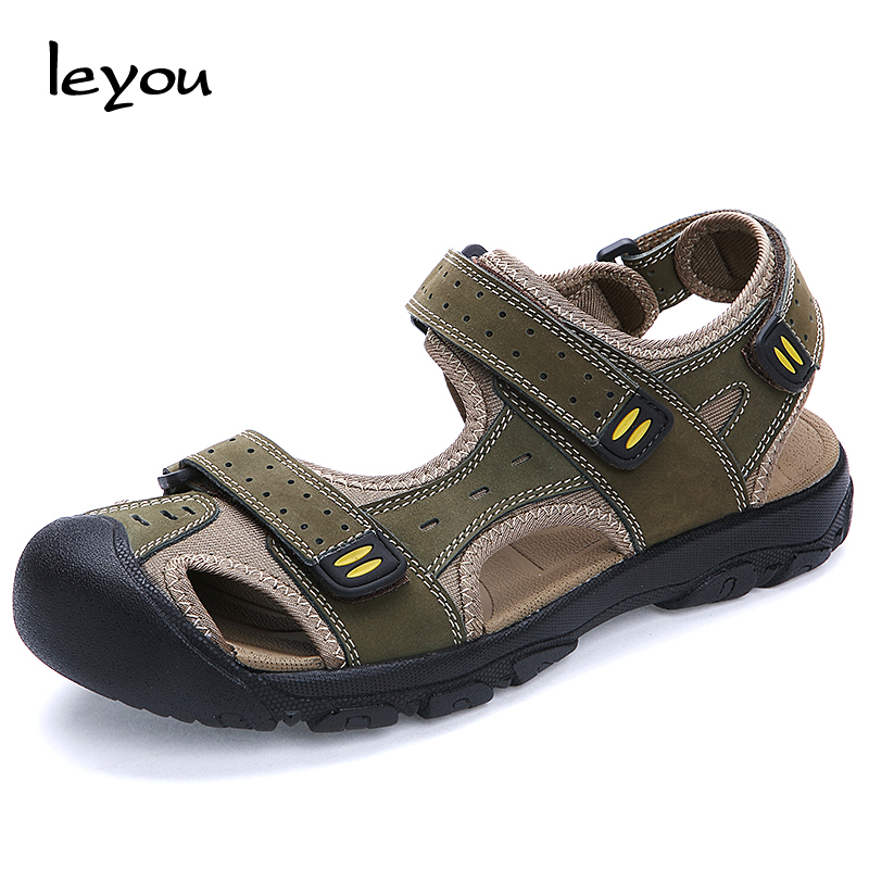 Men's Closed Toe Genuine Leather Sandals Sport Travel Sandal Shoes Outdoor Casual Beach Shoes