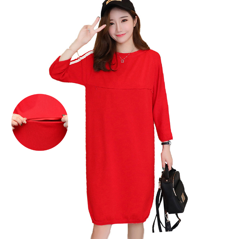 Maternity Nursing Dress Knitted Breastfeeding Sweater Dresses Autumn Winter Loose Pullovers Pregnancy Clothes for Pregnant Women bonu sexy bodycon sweater dress simple elegant dress female winter knitted flare sleeve split dresses for women vestidos