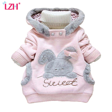 LZH 2017 Autumn Winter Baby Girls Jacket For Girls Infant Coat Kids Rabbit Hoodie Jacket Children Outerwear Coat Girls Clothes