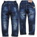 3962 primavera outono buraco calças jeans regular menino azul marinho calças infantis casuais meninos & meninas denim calças jeans crianças sapatos da moda