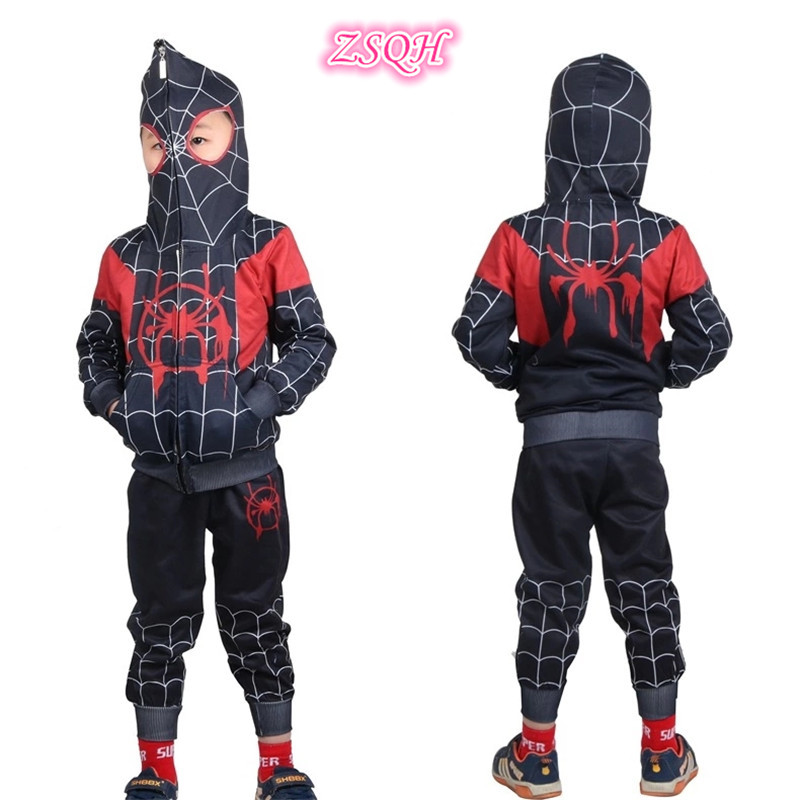 ZSQH Spider-Man Jumpsuits Into the Spider-Verse Miles Morales Cosplay Costume Spiderman Bodysuit Suit For Kids Boys Girls