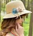 2015 Nuevo Estilo de Flores de Moda de Paja Sombreros de Verano Sol Playa Sombrero Chapeu Feminino Tapas