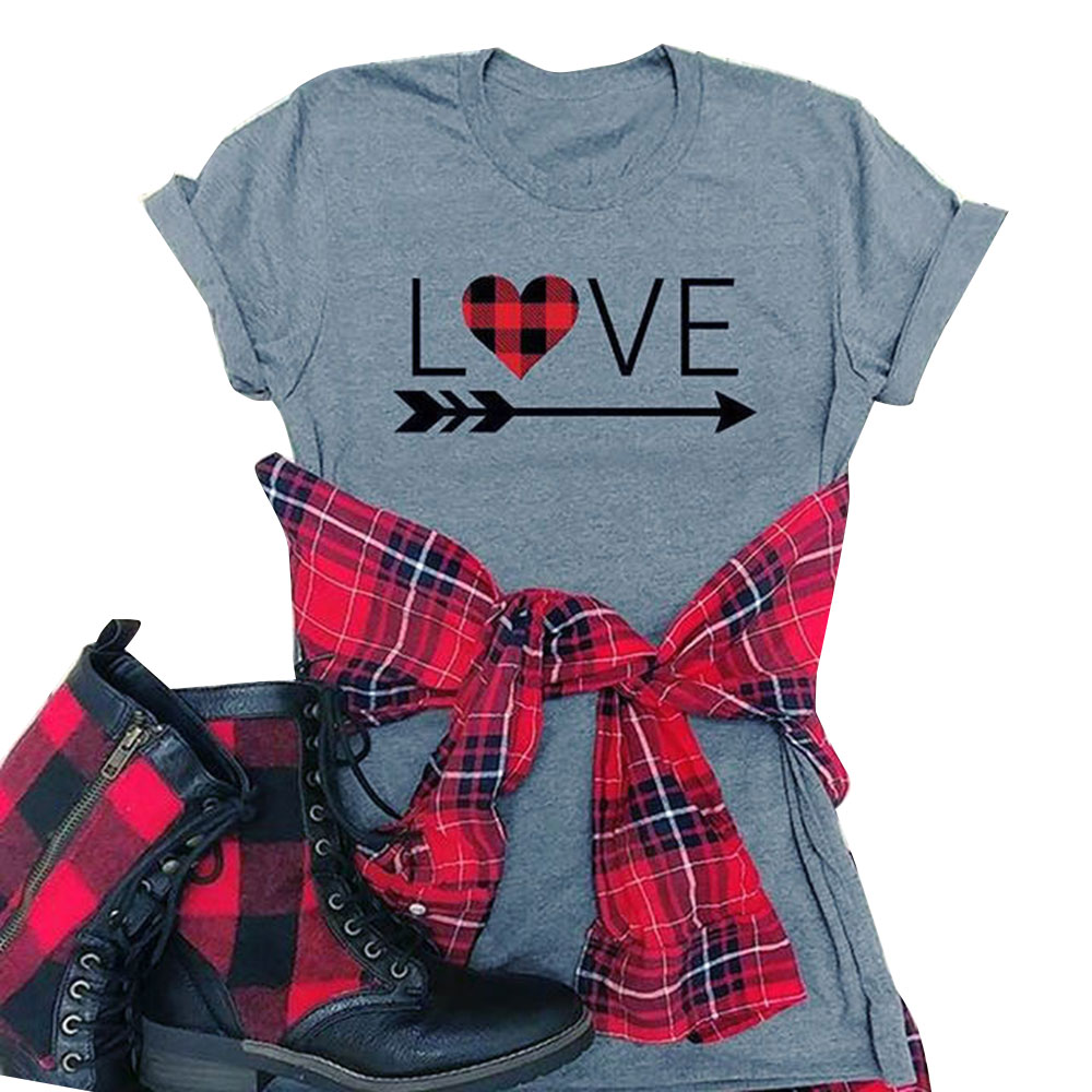 Valentine's Day Women Top Love Heart Printed T Shirt O Neck Short Sleeve Tee Shirt 2018 Summer Tees Girls Valentine's Tops