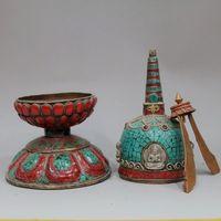 Ibet и Непала, позолота бронза инкрустированные бирюзовый буддийский вращающийся Библии