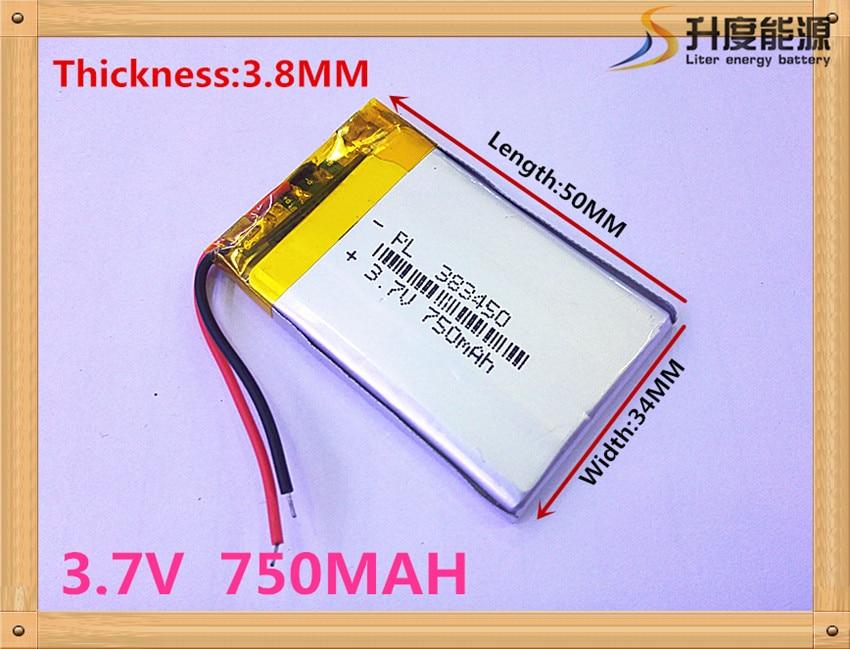 Super model li polymer 750mAh battery 3 7v 383450 for vending machines SD383450 SD383450