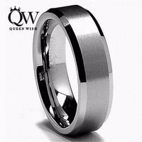 Free Shipping 8mm White Tungsten Carbide Ring Mens Wedding Band His Her Brushed Center Beveled Tungsten