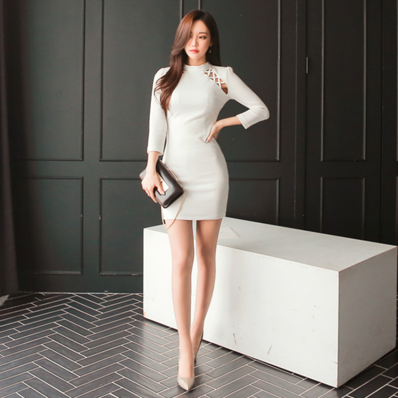 690e7e6231d41 2018 Spring Autumn Women Office Bandage Bodycon Short Dress Vestidos Sexy  White Party Dresses Plus Size Sheath Pack Hip Dress-in Dresses from Women s  ...