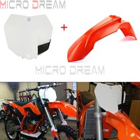 Plastic Motocross Orange Fender w/White Front Number Plate For KTM 125 150 250 300 XC SX XCW 350 EXC F XCF W SX F 2013 2016