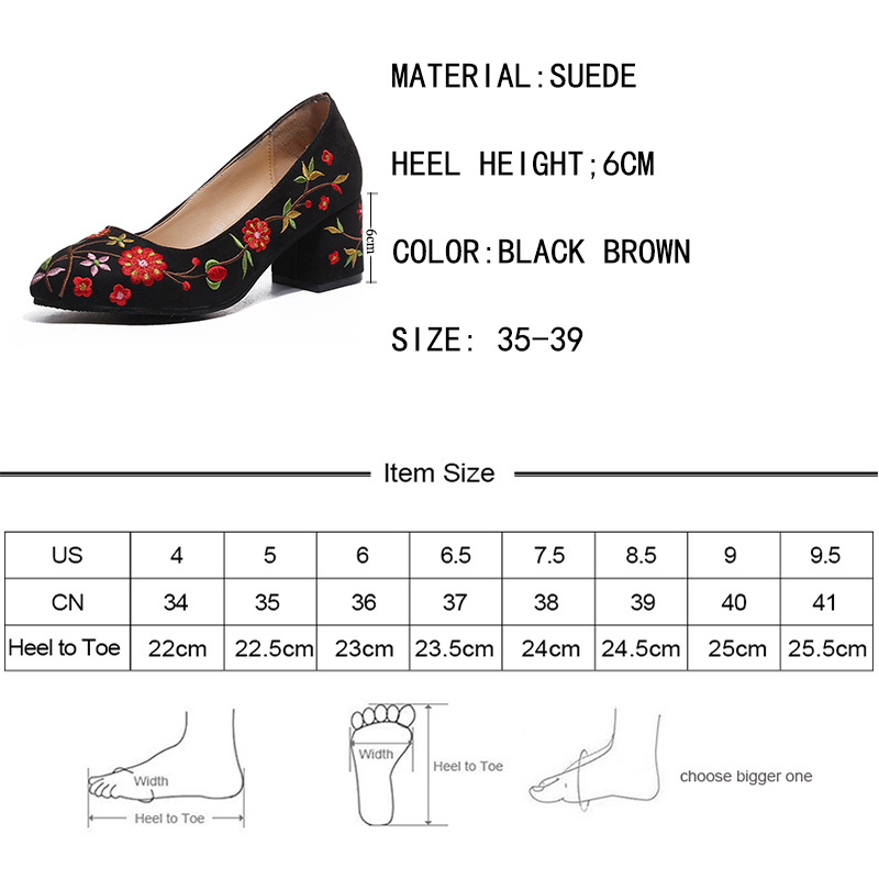 298c398ecbd1 Rimocy british vintage embroider floral thick heel pumps women 2018 spring  fashion design high heels slip on sandals shoes mujer-in Women s Pumps from  Shoes ...