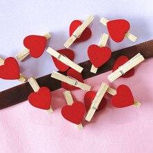 50 шт. красный в форме сердца мини натуральный Деревянные клипсы для фото прищепка Craft украшения Зажимы колышки