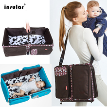 Insular Portable Folding Baby Crib Travel Bed Multifunction Large Capacity Mother Diaper Shoulder Bag For Mother Baby Nappy Bag