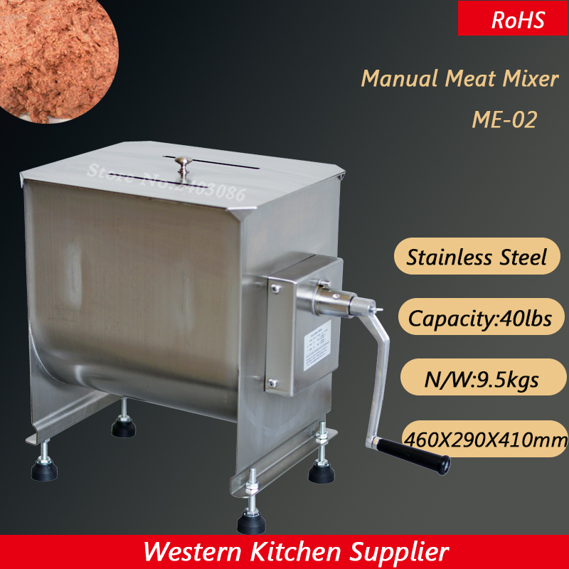 Food Grade Manual Meat Mixer Machine 20L/40lbs Stainless Steel Commercial