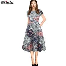 Oxiuly Vintage Summer Dress 2018 Colofull Flower Print Women Short Sleeve Slim A-Line Dresses Feminino