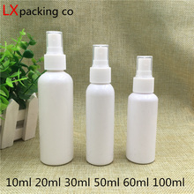 30 pcs 10 20 50 60 100 ml White Plastic Atomizer Perfume Bottle Water Pack Sample Container Bank Travel Free Shipping