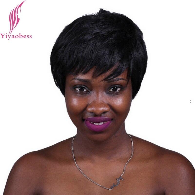 Yiyaobess 10inch 2 # Värmebeständig syntetisk rakt kort svart hår Naturligt ser europeiska peruker för cancerpatienter