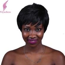 Yiyaobess 10 inch 2 # Из Жаропрочного Синтетического Прямые Короткие Черные Волосы Естественный Европейский Парики Для Больных Раком