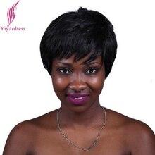 Yiyaobess 6 pollici Resistente Al Calore Capelli Sintetici Breve Rettilineo Nero Parrucca Africano Americano Parrucche Per Le Donne