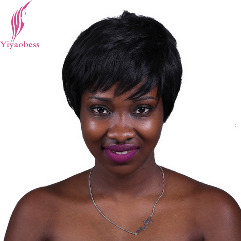 Yiyaobess 6inch Heat Resistant Synthetic Hair Straight Short Black Wig African American Wigs For Women