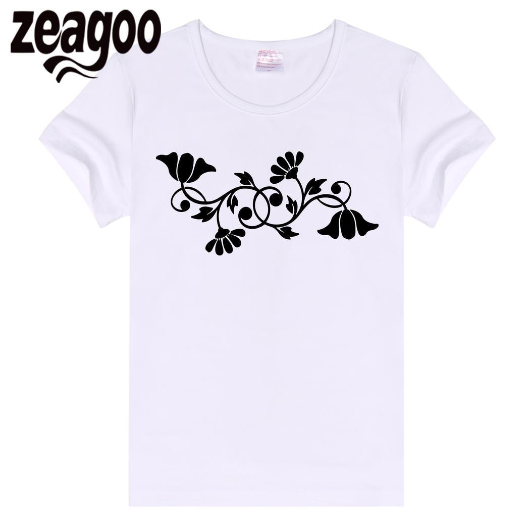zeagoo Casual Women Basic Plain Crew Neck Slim Fit Soft Short Sleeve T-Shirt White Flower111