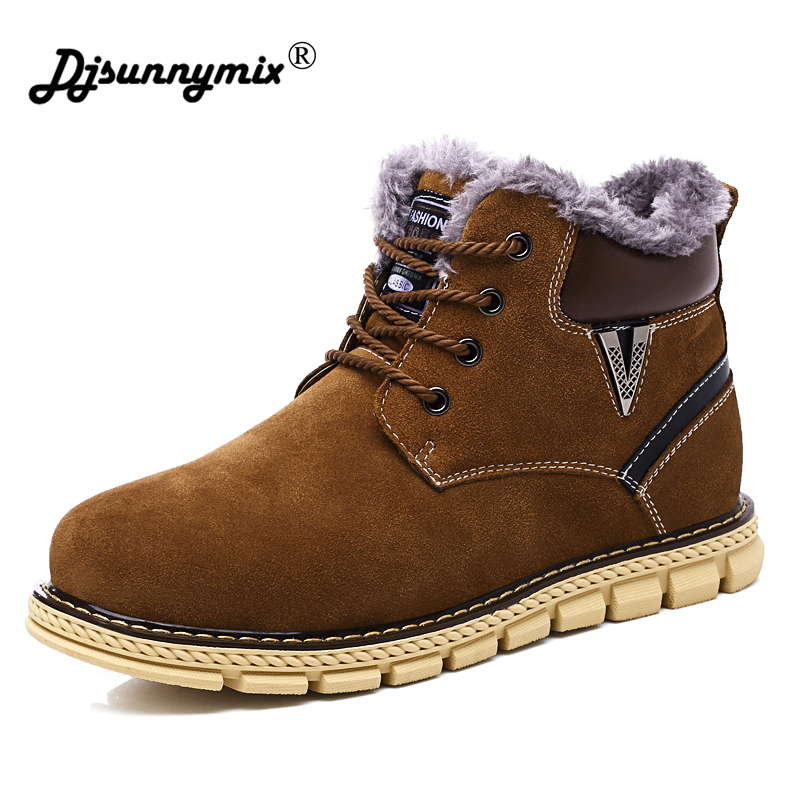 DJSUNNYMIX Brand Winter Warm Snow Boots Mens cow suede leather Plush Ankle Boots Work Casual Shoes men Sneakers Plus Size 38-45 zenvbnv winter leather men boots work casual boots men keep warm shoes male rubber snow cow suede leather ankle boots for men