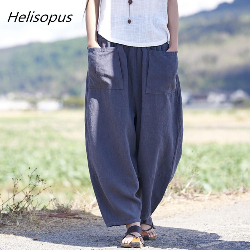 Helisopus Women Pockets Harem Pants Capri Elastic Waist Cotton Linen Casual Vintage Trouser Solid Color Loose Wide Leg Pants