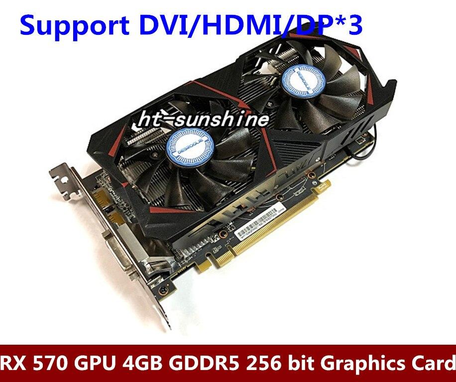 DEBROGLIE Radeon RX 570 GPU 4 GB GDDR5 256 bits de Jeu PC Vidéo Cartes Graphiques soutien DVI/HDMI PCI-E X16 3.0 RX570