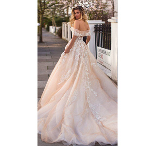 Image 3 - Sweetheart Champagne Wedding Dress Vestido De Noiva Robe De Mariee Off the Shoulder with Lace Appliques Bridal Gown