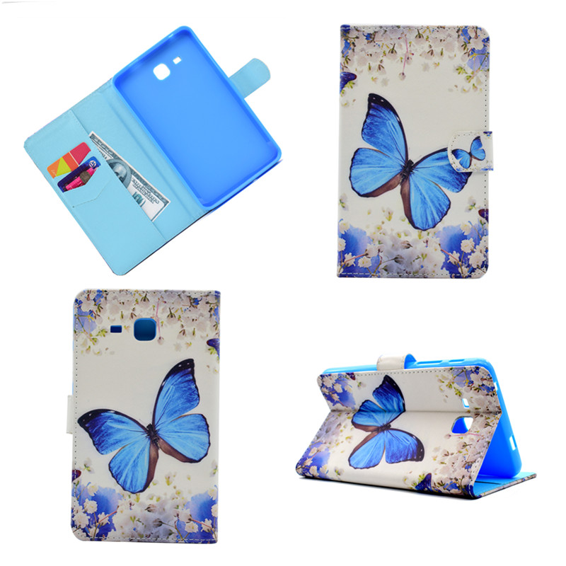 Cute Pattern pu Leather tablet Case For Samsung Galaxy Tab A A6 7.0 T280 T285 T280N T285C TPU Back Cover Shell Wallet Card solts lichee pattern flip stand pu leather case for samsung galaxy tab a 7 0 2016 t280 t285 covers for samsung tab a 7 0 t280 t285