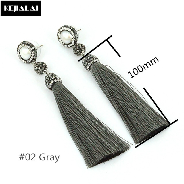 Fiber Long Tassel Earrings Bohemian Style Women Jewelry Hanging Dangle  Drops Natural Freshwater Pearl Charm Pave Rhinestone Gift 8e793cff4810