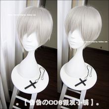 Owari no Seraph Of The End Hiiragi Shinya Hiragi Peluca de disfraz de Cosplay resistente al calor gris plata corta + gorro de peluca gratis