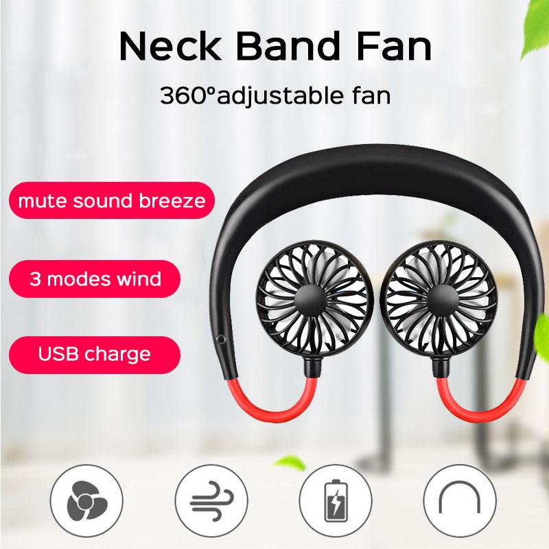 360 Degree USB Fan Rechargeable Neck Band Fan For Outdoor Office Sport Hand Free Mini Neck Double Fans 3 Speed Adjustable