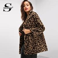 Sheinside Elegant Leopard Print Faux Fur Coat Women Autumn Winter Jacket Outerwear 2018 Warm Soft Overcoat Casual Womens Coats