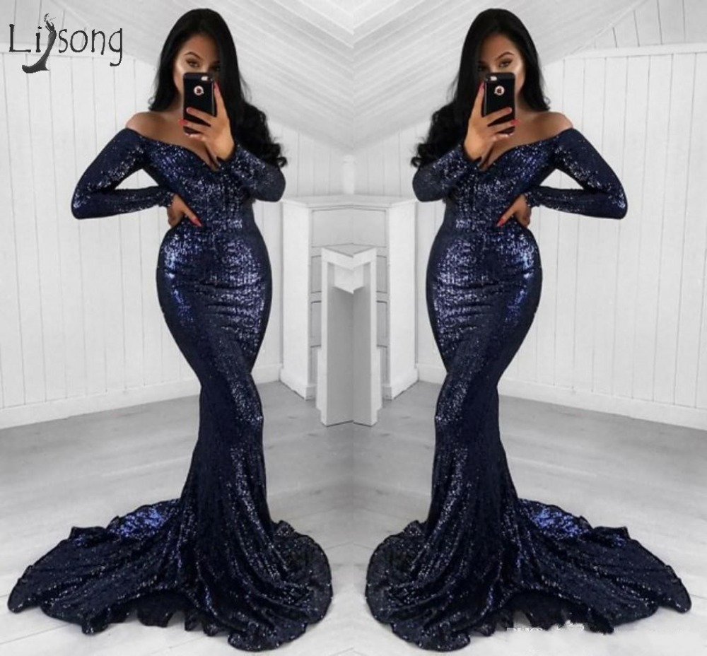 Sexy Navy Blue Sequined Mermaid   Prom     Dresses   With Full Sleeves Deep V-neck Long   Prom   Gowns Party   Dress   Robe De Soiree Longue