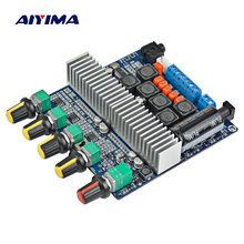 Aiyima tpa3116 2.1 amplificador subwoofer 2.1 de alta fidelidade potência digital montado bluetooth 5.0 2*50w + 100 baixo amp para alto-falante diy