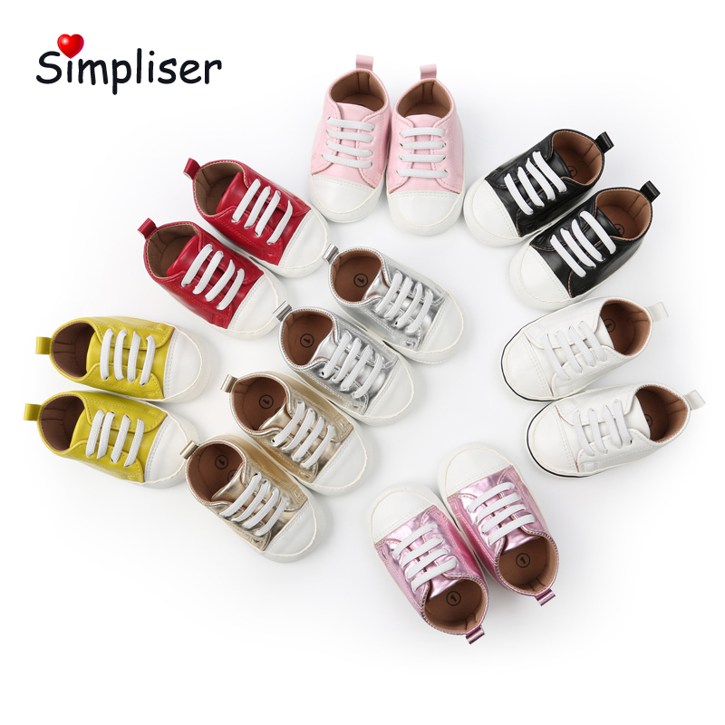 Anti-slip Newborn Baby Sneakers Girls Boys Casual Slip-on First Walkers Soft Sole Infant Walking Shoes Red White Toddler Shoes