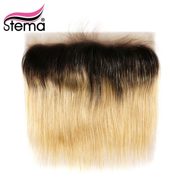 Stema Ombre Blonde straight Hair Brazilian 1b/613 13x4 Lace Frontal With Baby Hair Bleached knots Human Remy Hair free shipping
