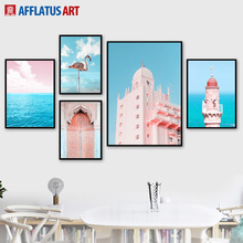 Pink Morocco Door Lighthouse Sea Flamingo Wall Art Canvas Painting Nordic Posters And Prints Pictures For Living Room Decor