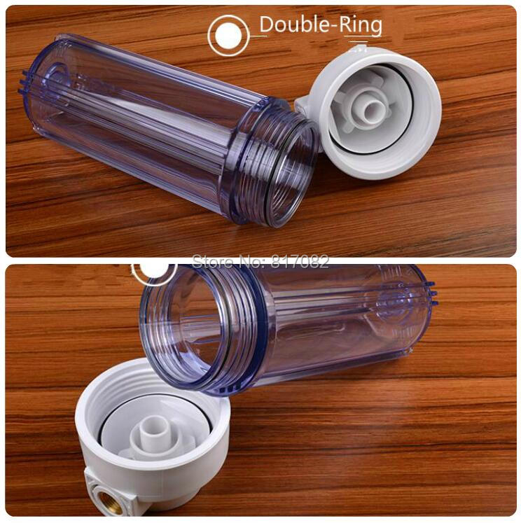 "10"" Clear Water Filter Housing 1/2'' port  with Double Ring High Pressure Filter Bottle Water Filter Housing For Water Purifier-in Water Filters from Home Appliances    2"