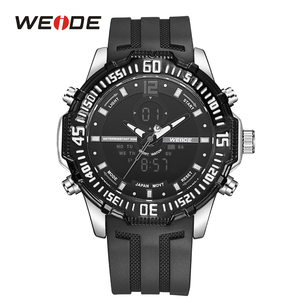 WEIDE Mens Sport Military Analog Quartz LCD Digital Display Alarm Back Light Day Black Dial Rubber Band Strap Wrist Watch weide men sport watch black nylon strap quartz movement military watch analog round dial hardlex buckle mens clock wristwatches
