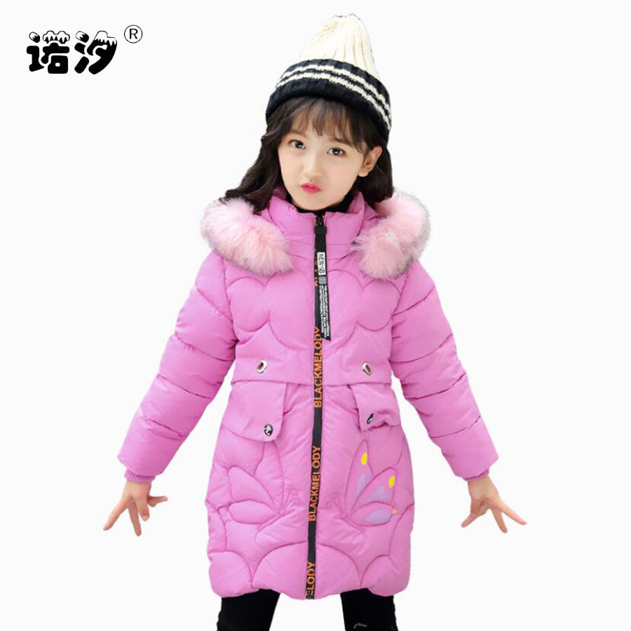 Fashion Children Winter Jacket Girl Winter Coat Kids Warm Thick Fur Collar Hooded long down Coats For Teenage 3-11Y child coat стоимость