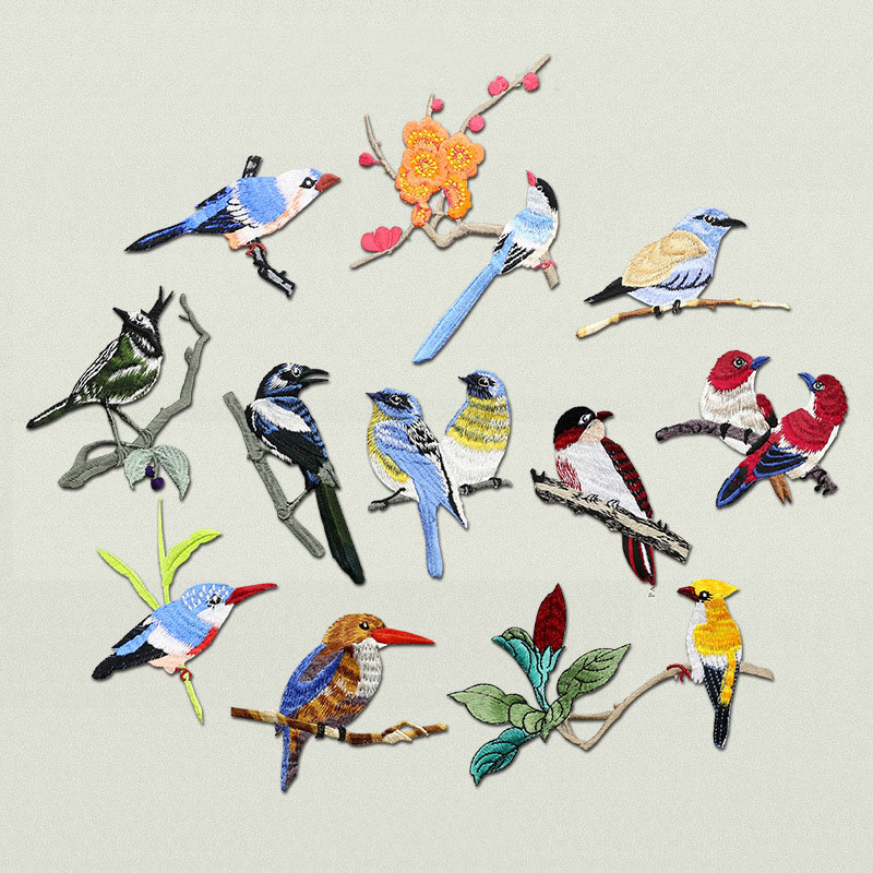 HTB1h.SscStYBeNjSspkq6zU8VXaN Bird Iron on Patches for Clothing Animal of The Breach Embroidery Applique DIY Hat Coat Dress Pants Accessories Cloth Sticker
