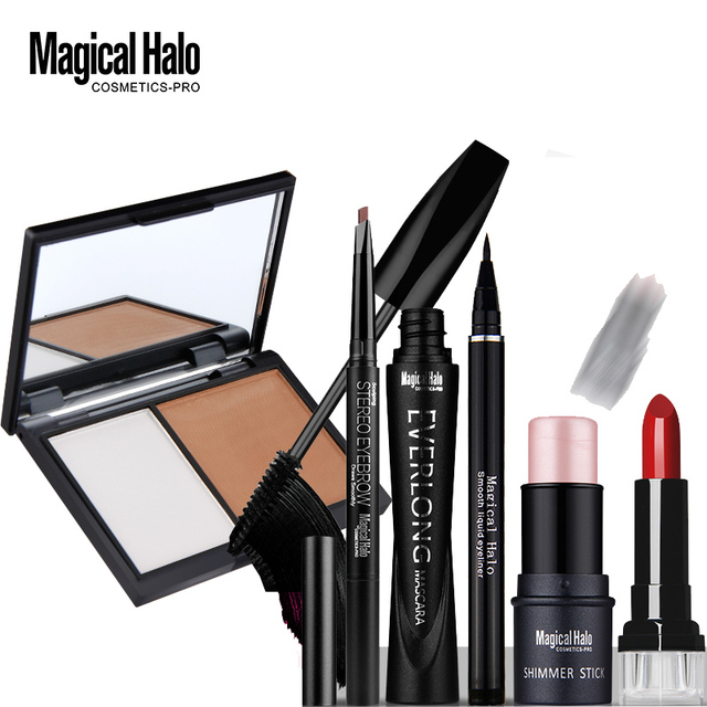 Magical Halo Eyebrow Pencil + Mascara + Eyeliner Pen + Bronzing Powder + Concealer Shimmer Stick Lipstick Cosmetics Makeup Set