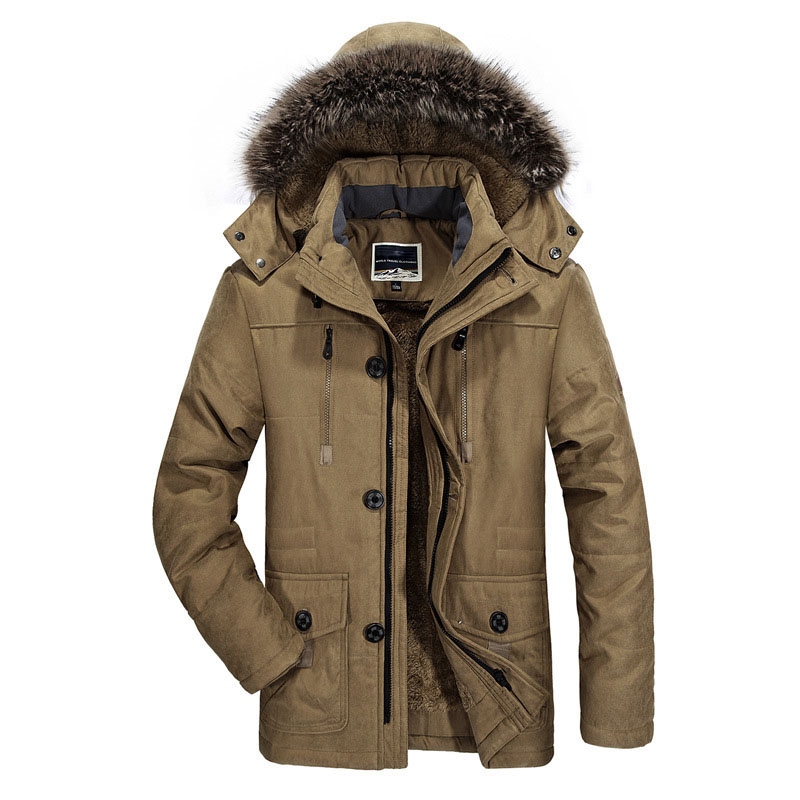 Winter New Men's Jackets Coat Brand Fur Collar 7XL Plus Size Male Thicken Parkas Coat Men Fleece Clothing Quilted Jacket BF7176