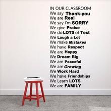 Правила класса, виниловые наклейки на стену, Декор, в нашем классном зале, мы благодарим вас, Декор для дома и школы