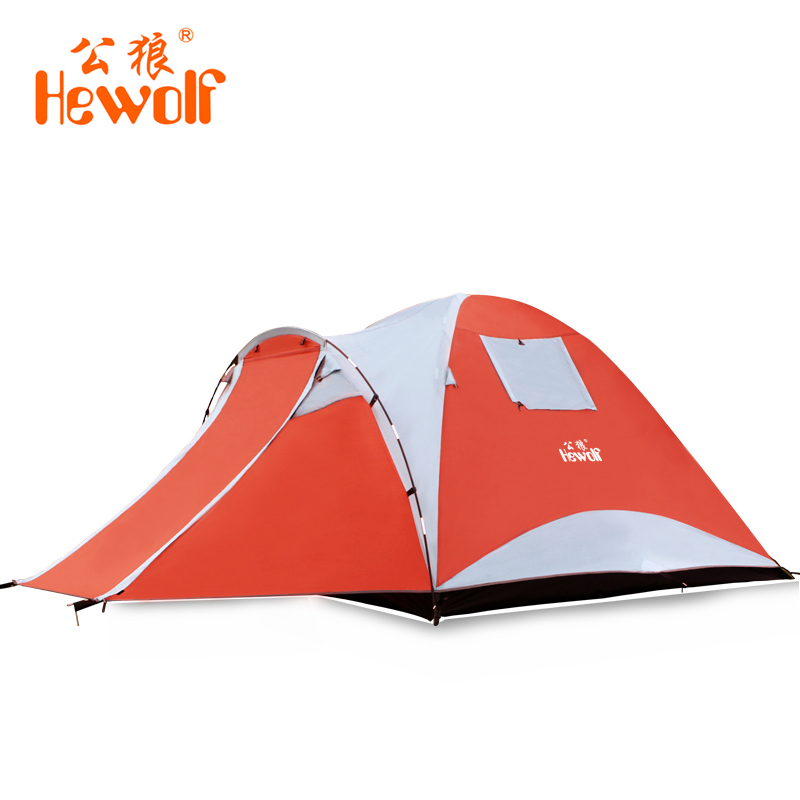 Hewolf 210T polyester 4-5 people Tent Waterproof Double Layers Aluminum Rod Hike Camping Tents 4 Season Outdoor windproof tent large double layers folding umbrella windproof rain gear