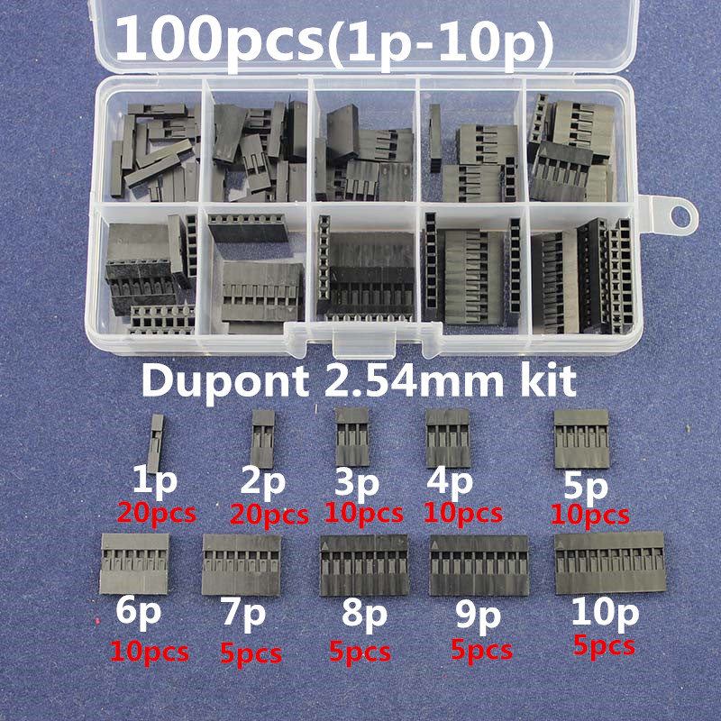 100pc Dupont sets Kit with box 1P/2P/3P/4P/5P/6P/7P/8P/9P/ 10Pin Housing Plastic Shell Terminal Jumper Wire Connector set 29um68 p