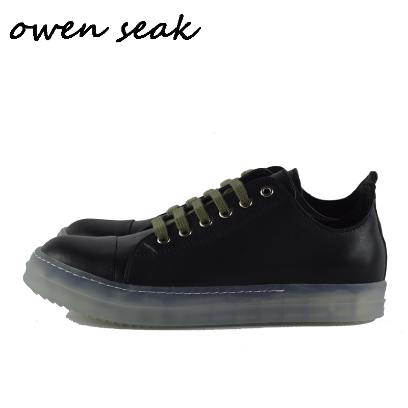 19ss Owen Seak Men Casual Loafers Shoes Luxury Lace Up Cow Leather Trainers Summer Man Flats