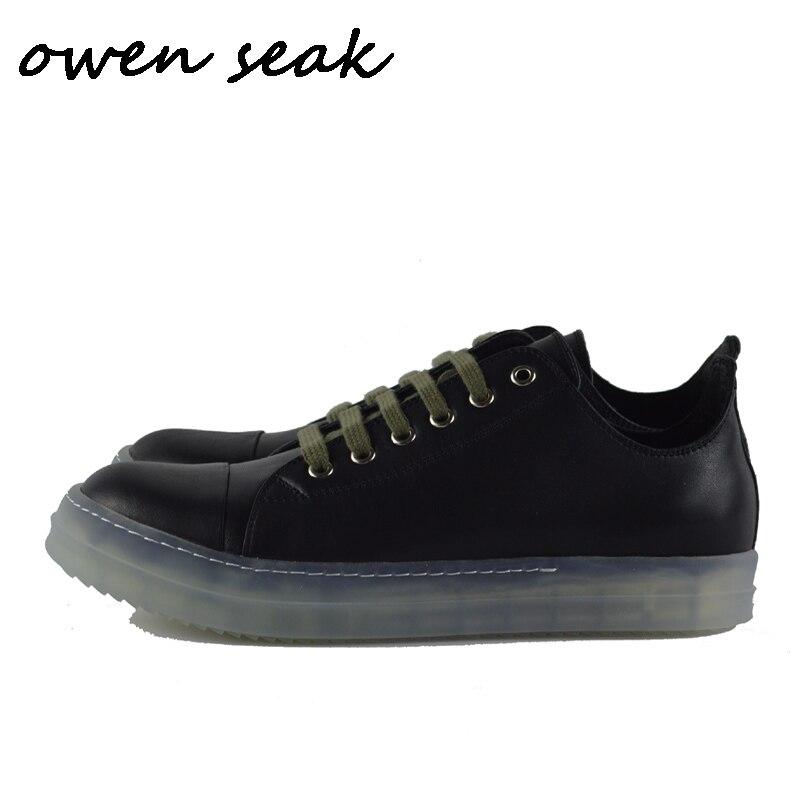 19ss オーウェン Seak 男性カジュアルローファーの靴高級レースアップ牛革トレーナー夏男フラッツ春黒の靴スニーカー  グループ上の 靴 からの メンズカジュアルシューズ の中 1